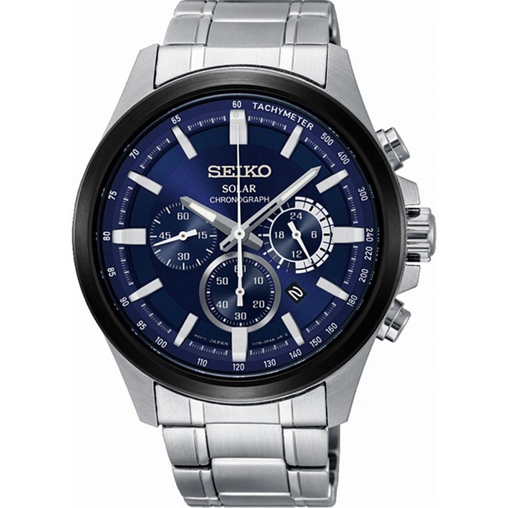 SEIKO 精工Criteria三眼太陽能時尚腕錶(SSC681P1)
