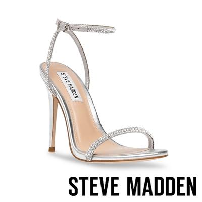 STEVE MADDEN-BRESLIN 閃耀細帶繞踝高跟涼鞋-星空銀