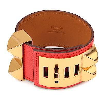 HERMES Collier De Chien金屬Epsom牛皮寬版手環-橘色