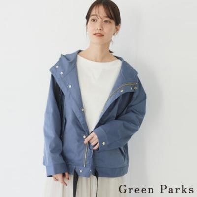 Green Parks 光澤色調連帽抽繩風衣外套
