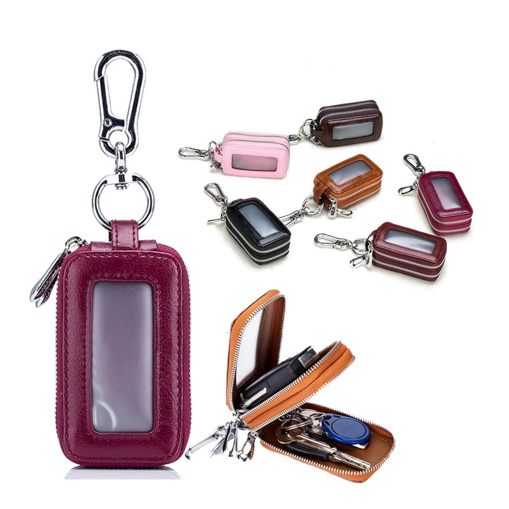 玩皮工坊-復古油蠟牛皮腰掛雙隔層鑰匙包-KB48
