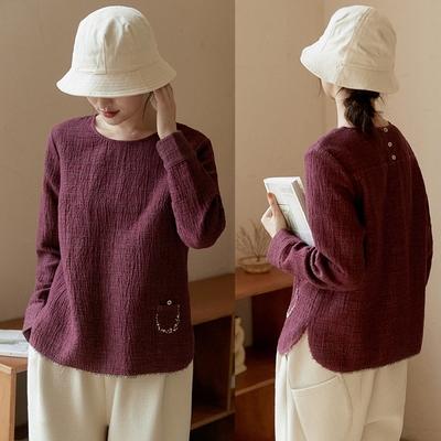 雙層色織石紋褶皺棉麻復古上衣長袖T恤-設計所在