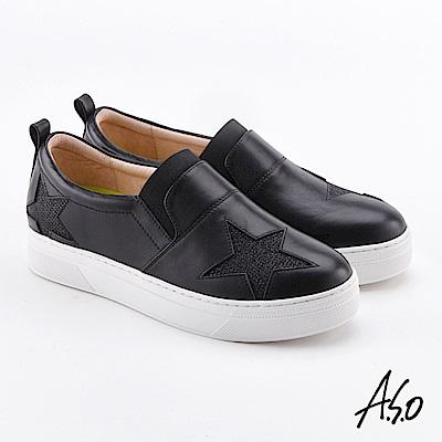 A.S.O  超彈力 星星真皮亮片拼接休閒鞋 黑