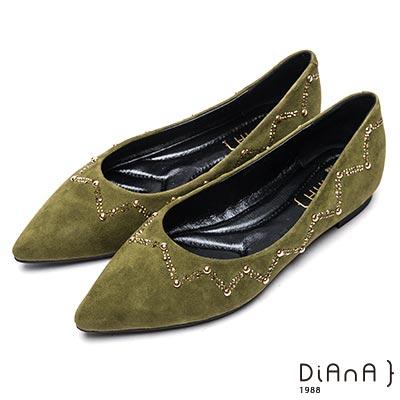 DIANA 閃耀魅力—俏皮活力金屬鉚釘綴飾真皮平底鞋-綠