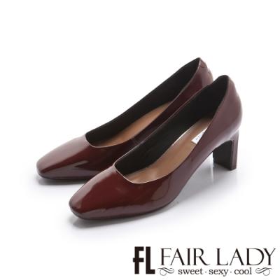 FAIR LADY 優雅小姐 高雅方頭壓紋皮革細跟鞋 酒紅