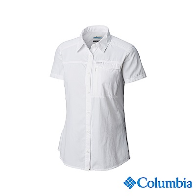 Columbia 哥倫比亞 女款-UPF50快排短袖襯衫-白色UAK26540WT
