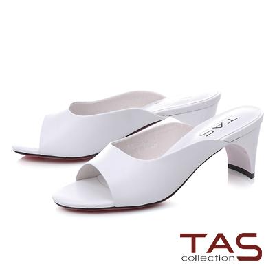 TAS素面造型後跟魚口涼拖鞋-時尚白