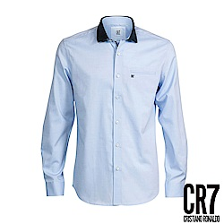 CR7-Slim Fit 拼接彈性棉質領藍色襯衫(8661-72400-32)