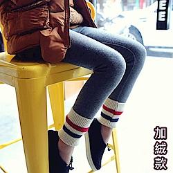 小衣衫童裝   運動風螺紋拼接加絨內搭靴褲1061021