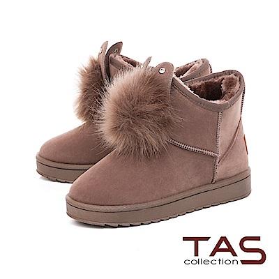 TAS兔耳造型水鑽毛球絨布雪靴-溫暖咖