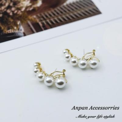 【ANPAN愛扮】韓東大門NYU個性珍珠925銀針耳針式耳環