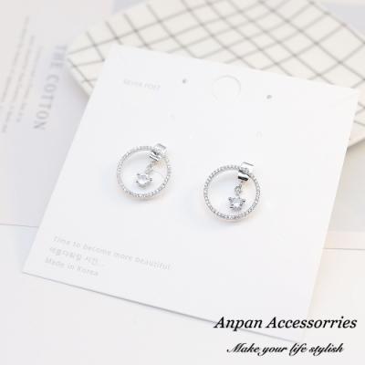 【ANPAN愛扮】韓南大門浪漫閃鑽圓星925耳釘式耳環