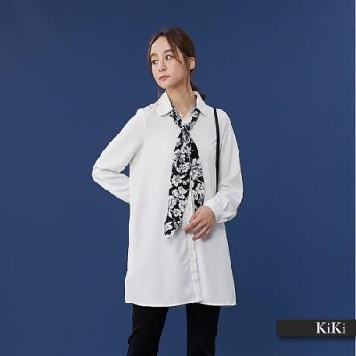 【KiKi】綁帶領巾長版-襯衫(二色)