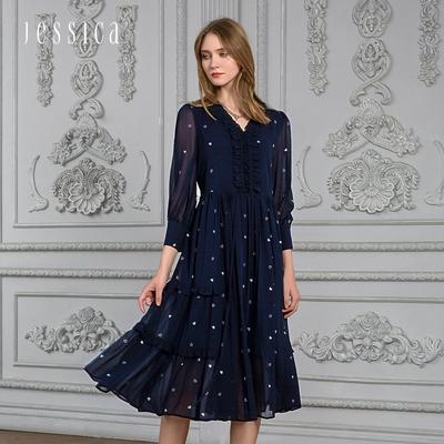JESSICA - 浪漫木耳邊領透膚雪紡長袖長洋裝(深藍)