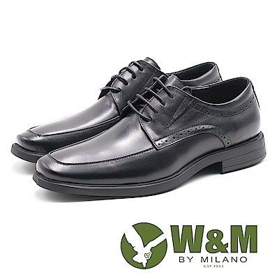 W&M 低調壓紋紳士綁帶男皮鞋-黑