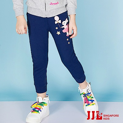 JJLKIDS 甜美兔子圖騰休閒棉褲(藏青)