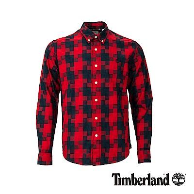 Timberland 男款里約紅色織格紋長袖襯衫|A1WV4