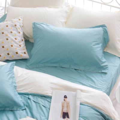 OLIVIA TWINS 湖綠X米白 標準雙人床包歐式枕套組 MOC莫代爾棉 台灣製