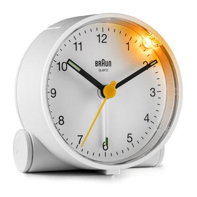 德國BRAUN百靈-經典圓型旅行鬧鐘-白(BC01W)