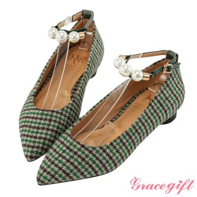 Grace gift X Rui-聯名珍珠踝帶2WAY平底鞋 綠