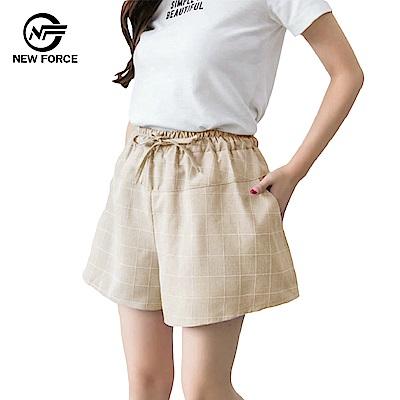 NEW FORCE 時尚休閒寬腿顯瘦格子褲子-卡其