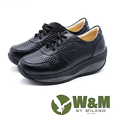 W&M FIT健走俐落運動風 彈力增高女鞋-黑(另有白)