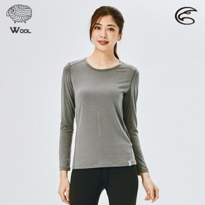 ADISI 女美麗諾混紡羊毛圓領彈性保暖衣AU2021031 / 石像灰