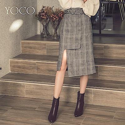 東京著衣-yoco 時髦格紋排扣側開叉附腰帶中長裙-S.M.L(共一色)