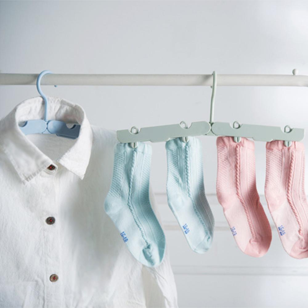 【收納職人】旅行魔術伸縮衣架隱藏衣夾折疊衣架4入/組-顏色隨機