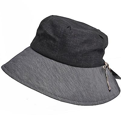 DAKS 日本製抗UV科技纖維格紋造型側邊蝴蝶結格紋LOGO造型帽(黑灰)