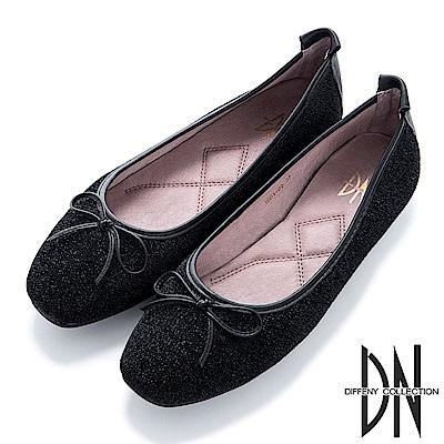 DN 法式優雅 金蔥芭蕾蝴蝶結娃娃鞋-黑