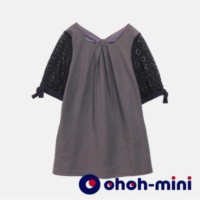 【ohoh-mini孕婦裝】高雅蕾絲格紋孕婦長版上衣