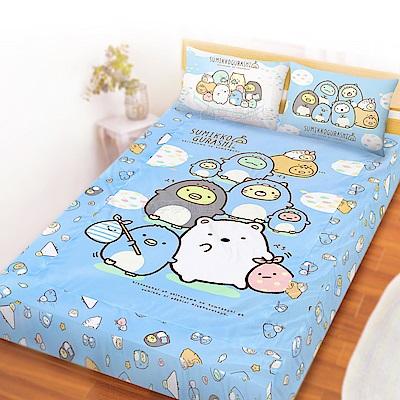 享夢城堡 雙人床包枕套5x6.2三件組-角落小夥伴 冰原歷險-藍