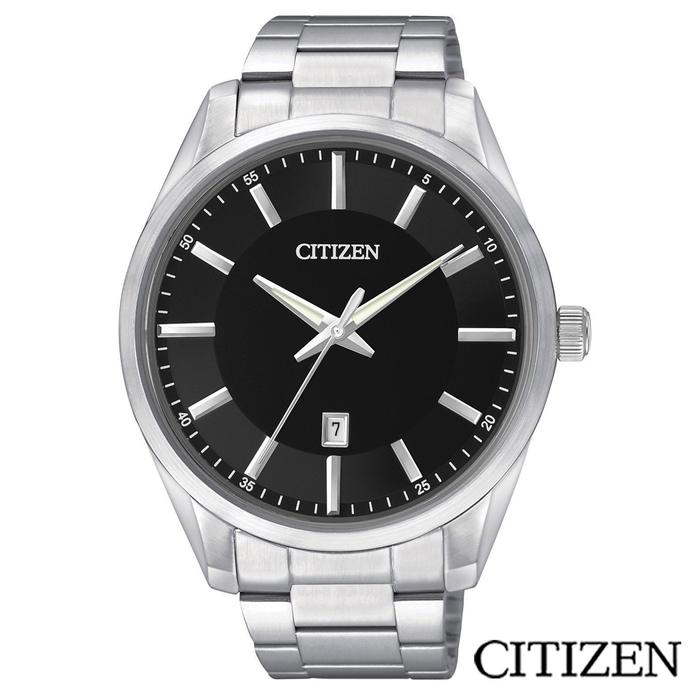 CITIZEN星辰 菁英時尚男性石英腕錶-黑-BI1030-53E