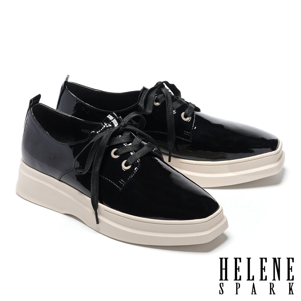 休閒鞋 HELENE SPARK 潮流時尚全真皮綁帶造型方頭厚底休閒鞋-黑
