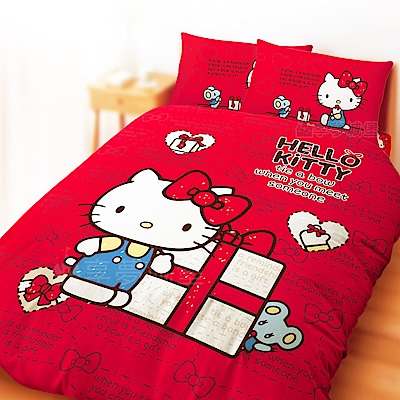 享夢城堡 雙人加大床包涼被四件組-HELLO KITTY 蝴蝶結-米.紅