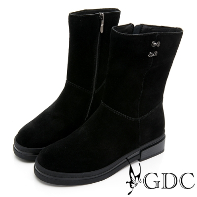 GDC-麂皮時尚簡約側扣飾舒適厚底中筒靴-黑色