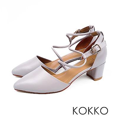 KOKKO - 文藝復興S形流線踝帶尖頭粗跟鞋-晶透藍