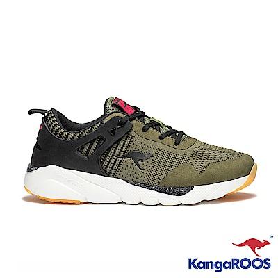 KANGAROOS 男 RUN BURST 科技針織跑鞋(軍綠)