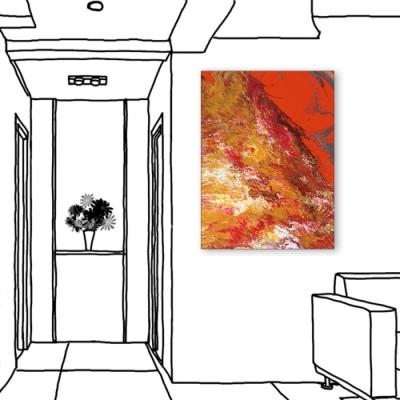 24mama掛畫-單聯式 紅色 藝術抽象 油畫風無框畫 60X80cm-熱烈