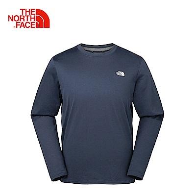 The North Face北面男款深藍色吸濕排汗戶外長袖T恤 2XX12RV