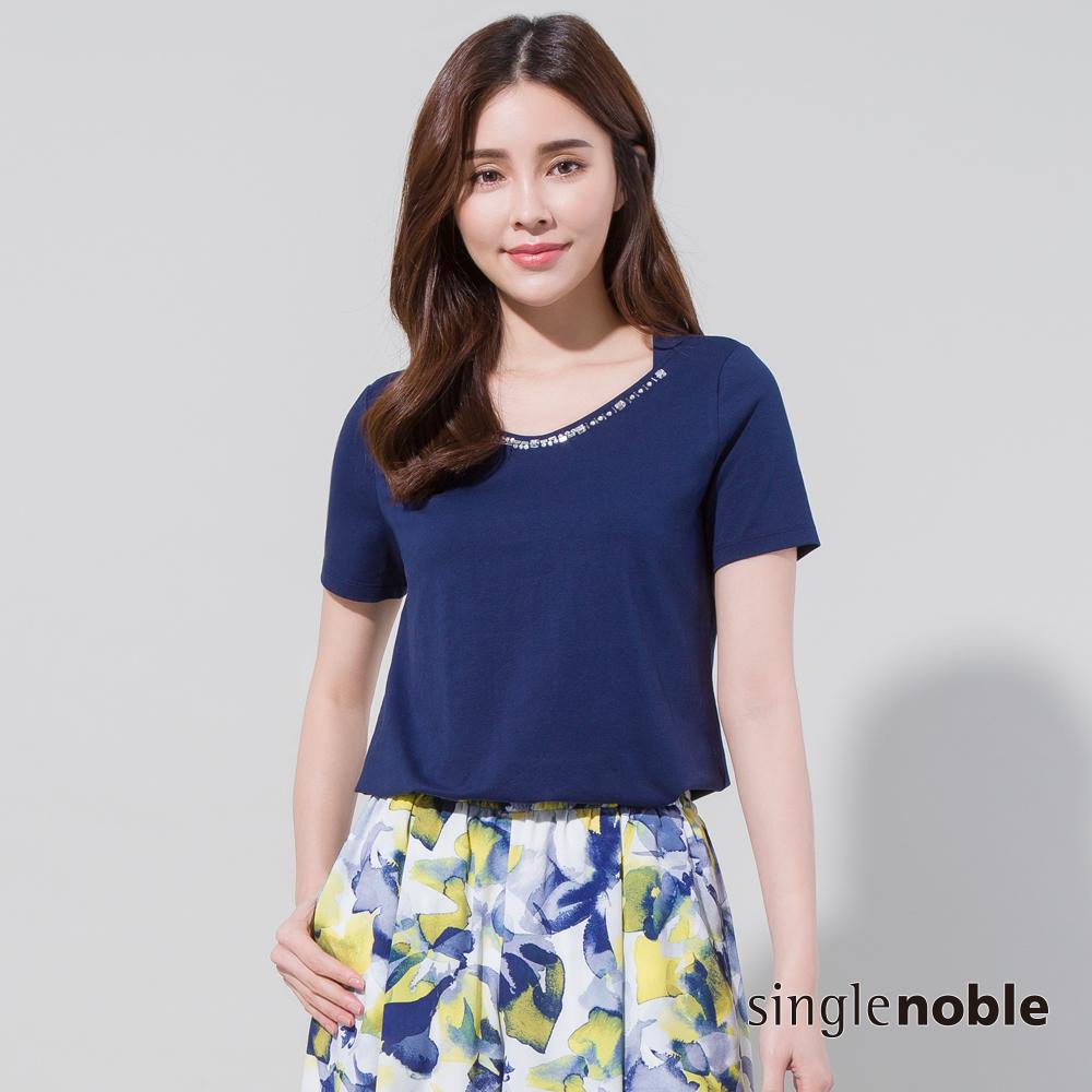 獨身貴族 純粹年華領口鑽飾設計上衣(2色) @ Y!購物