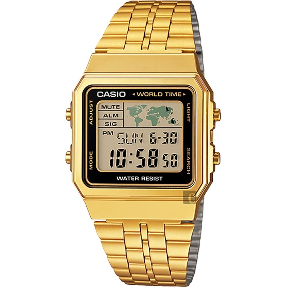 CASIO 卡西歐 數位顯示手錶-金(A-500WGA-1)