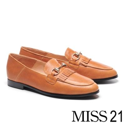 跟鞋 MISS 21 復古知性流蘇馬銜釦全真皮樂福低跟鞋-咖