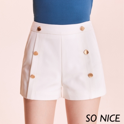 SO NICE時尚金釦錦棉短褲