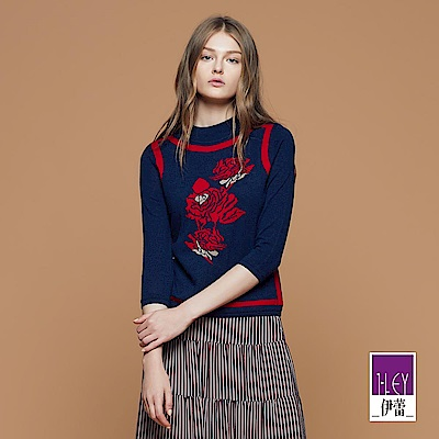 ILEY伊蕾 精緻玫瑰緹織配色針織上衣(藍)