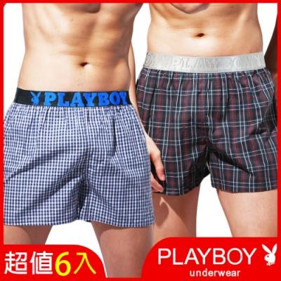 [時時樂限定] PLAYBOY_LOGO織帶五片式格紋四角褲(6件組)