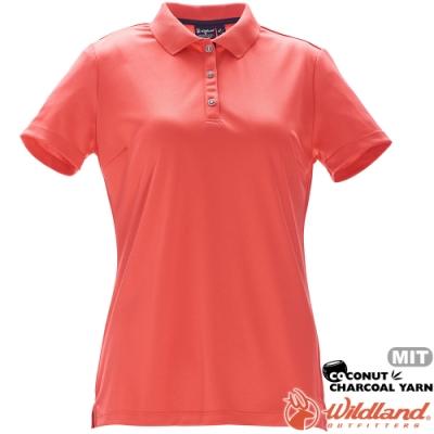 Wildland 荒野 0A71657-84橘色 女椰炭紗YOKE領抗菌衣
