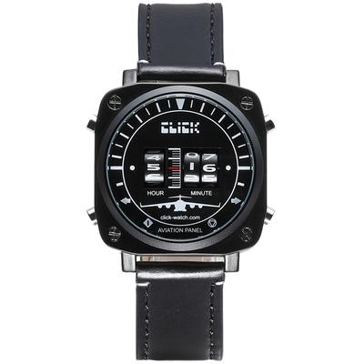 CLICK 復古飛機錶-黑面皮帶款/44mm