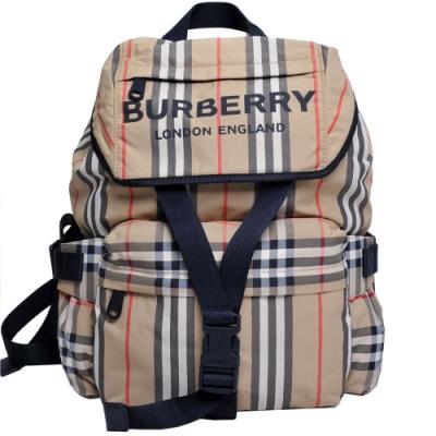 BURBERRY 中型 Vintage 格紋及標誌性條紋尼龍後背包(駝色格紋)